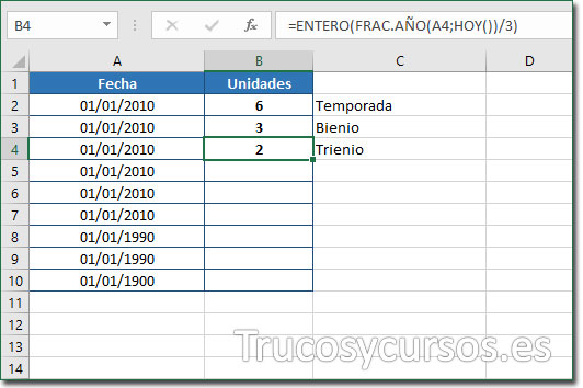 Celda B4 con el valor de 3 trienios desde 01/01/2010