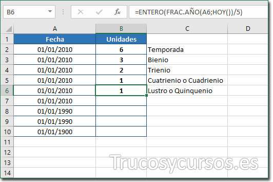 Celda B6 con el valor de 1 quinquenio desde 01/01/2010