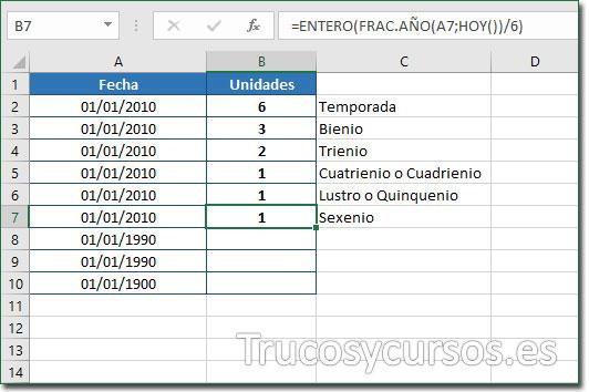 Celda B7 con el valor de 1 sexenio desde 01/01/2010