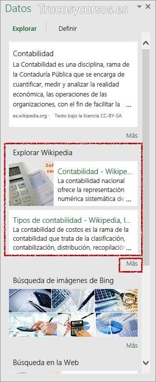La búsqueda inteligente en Excel: Panel datos, con resultados de explorar Wikipedia