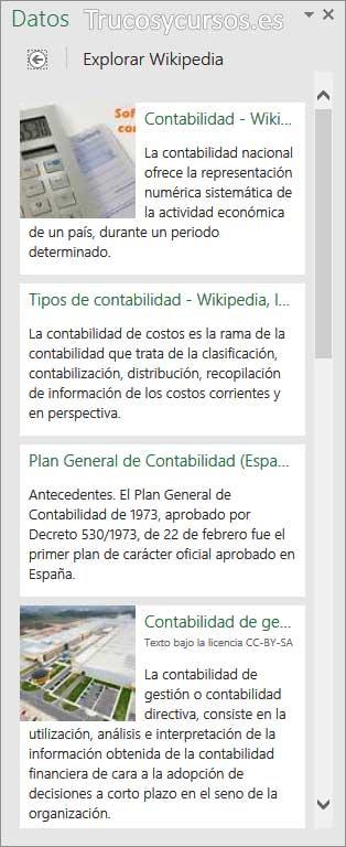 Panel datos, con resultados de explorar Wikipedia ampliados