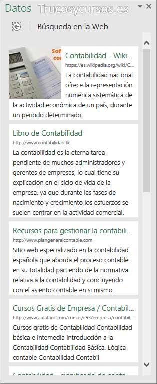 Panel datos, con resultados de explorar en la web ampliados