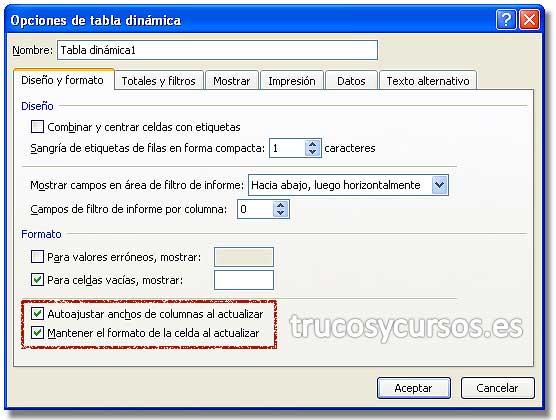Formato en tablas dinámicas de Excel: Cuadro de diálogo de opciones de tabla dinámica, con opciones de formato.