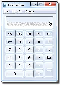 Calculadora en Excel: Calculadora tipo estándar.