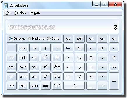 Calculadora en Excel: Calculadora tipo científica.