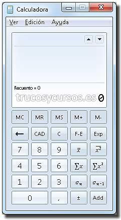 Calculadora en Excel: Calculadora tipo estadísticas.