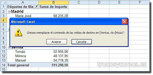Proteger una tabla dinámica en Excel: Mensaje de advertencia para reemplazar los datos de la tabla dinámica.