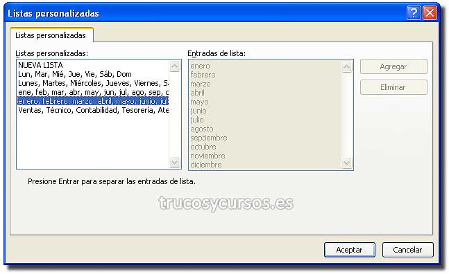 Ordenar por mes o día semana en Excel: Ventana lista personalizada con lista de meses.