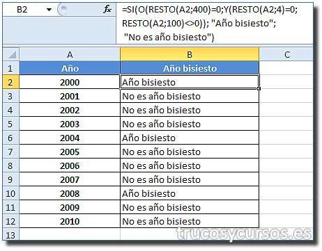 Año bisiesto en Excel: Hoja con columna B indicando si es año bisiesto el valor en A.