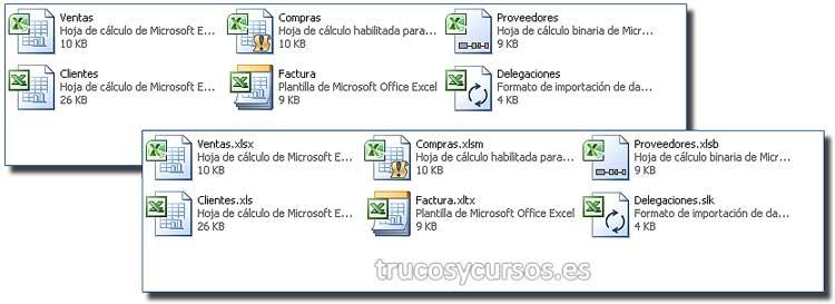 Mostrar las extensiones: Carpeta Windows con archivos excel mostrando su extensión.