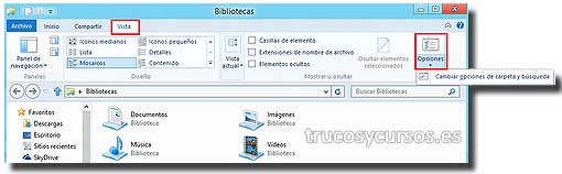 Explorador de Windows, cinta de opciones de vista.