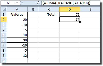 Sumar valores positivos en Excel: Celda D1 con fórmula matricial {=SUMA(SI(A1:A9>0;A1:A9;0))}