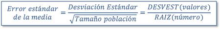 Error típico de la media en Excel: Fórmula DESVEST(valores)/RAIZ(número)