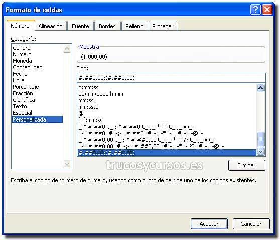 Número negativo entre paréntesis en Excel: Ventana de formato de celdas con formato: #.##0,00;(#.##0,00)