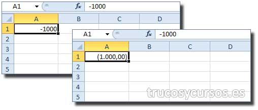 Número negativo entre paréntesis en Excel: Celda A1 con valor -1000 y (1000)