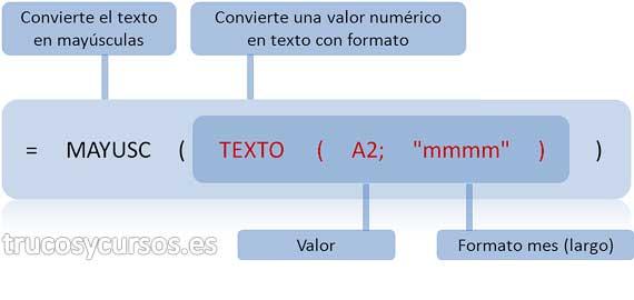 """Mes de una fecha en mayúscula en Excel: Función anidada, =MAYUSC(TEXTO(A1;""""mmmm""""))."""