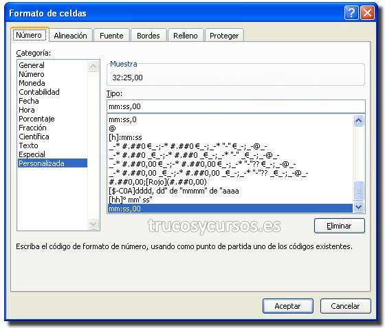 Tiempo en centésimas de segundo en Excel: Ventana formato de celdas personalizado: mm:ss,00