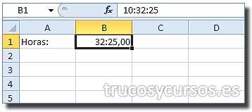 Tiempo en centésimas de segundo en Excel: Celda B1 mostrando: 32:25,00