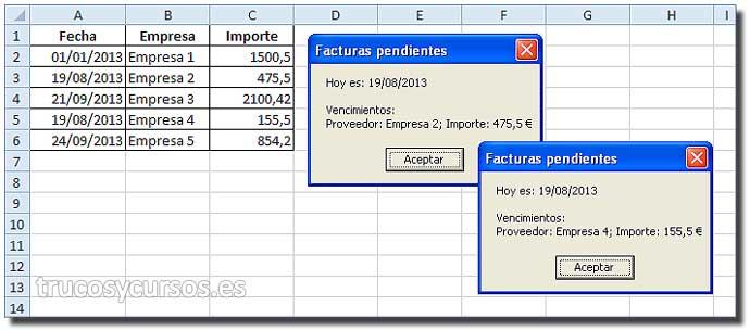 Fecha de vencimiento con macro Excel: Mensaje de aviso con vencimiento 19/08/2013 (fecha actual)