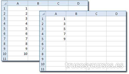 Eliminar filas pares o impares en Excel: Hoja con valores y con filas impar eliminadas