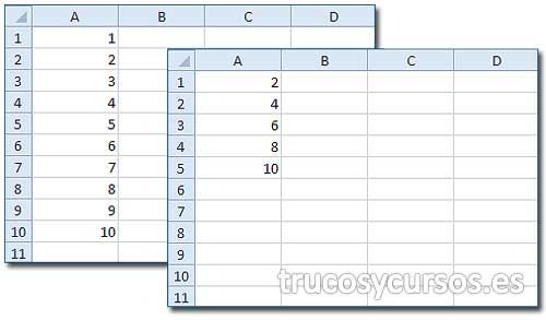 Eliminar filas pares o impares en Excel: Hoja con valores y con filas par eliminadas
