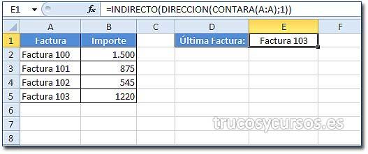 Último valor introducido en Excel: Celda E1 con función anidada, =INDIRECTO(DIRECCION(CONTARA(A:A);1))