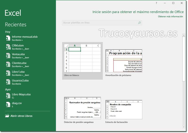 Deshabilitar la pantalla de inicio Excel: Pantalla de inicio de Excel 2013.