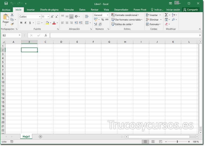 Deshabilitar la pantalla de inicio Excel: Inicio de  Excel 2013 sin pantalla de inicio.