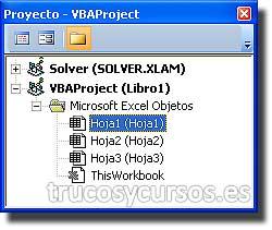 Color de la celda seleccionada en Excel: Panel explorador de proyecto con Hoja1 seleccionada.
