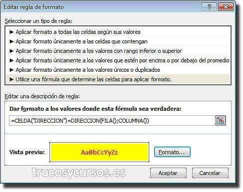 Color de la celda seleccionada en Excel: Cuadro de diálogo, Editar regla de formato, fórmula.