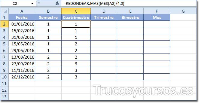Celda C2 con función =REDONDEAR.MAS(MES(A2)/4;0) para mostrar el número de cuatrimestre