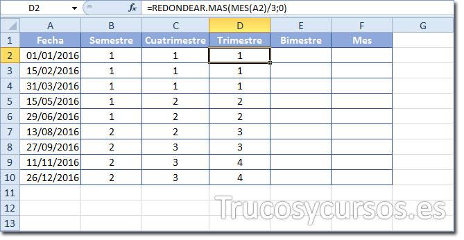 Celda D2 con función =REDONDEAR.MAS(MES(A2)/3;0) para mostrar el número de trimestre
