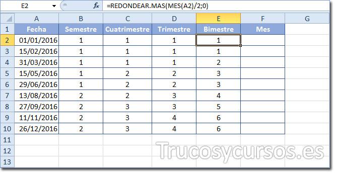 Celda E2 con función =REDONDEAR.MAS(MES(A2)/2;0) para mostrar el número de bimestre