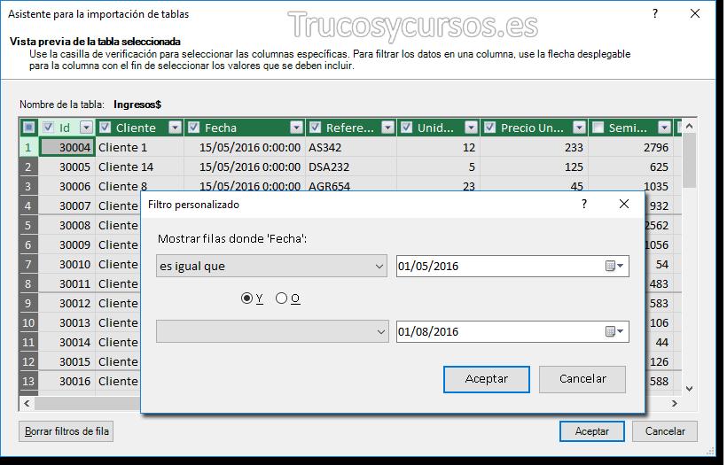 Venta de filtro de importación filtrando para un rango de fechas