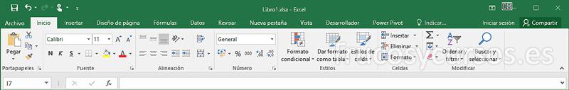 Cinta de opciones Excel modo mouse, con espacio predeterminado entre comandos