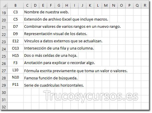 Rango Excel con la pregunta y la celda de referencia