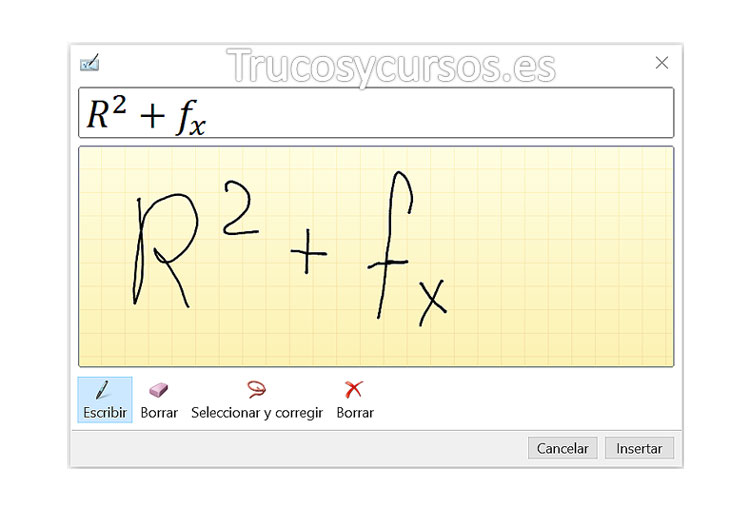 Escribir ecuaciones con entrada de lápiz en Excel: Ventana de entrada ecuación