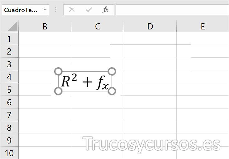 Hoja Excel con ecuación R^2+fx