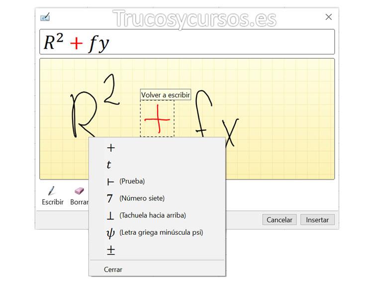 Ventana de entrada de ecuación, con signo suma seleccionado