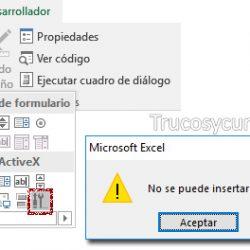 Error No se puede insertar el objeto en controles ActiveX Excel