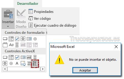 Mensaje de Error No se puede insertar el objeto en controles ActiveX Excel