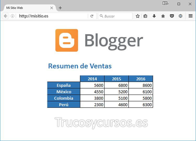 Incrustrar o Embeber un archivo Excel en una página web Blogger