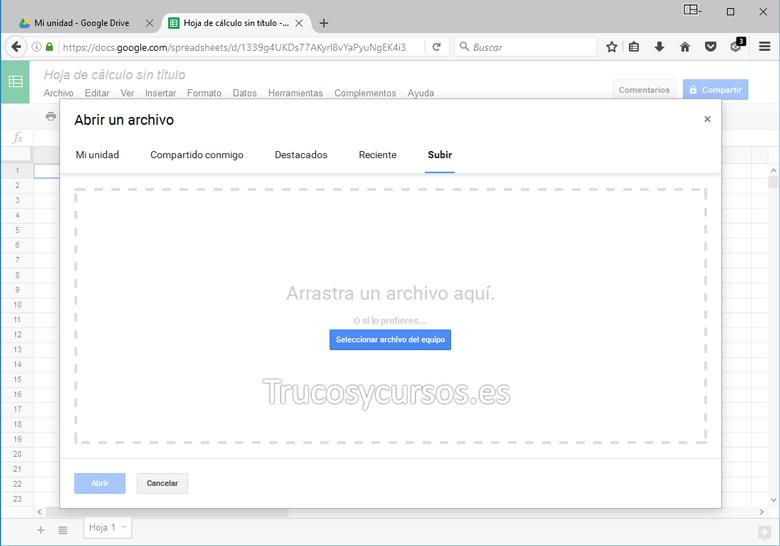 Hoja de cálculo de Google con ventana abrir un archivo
