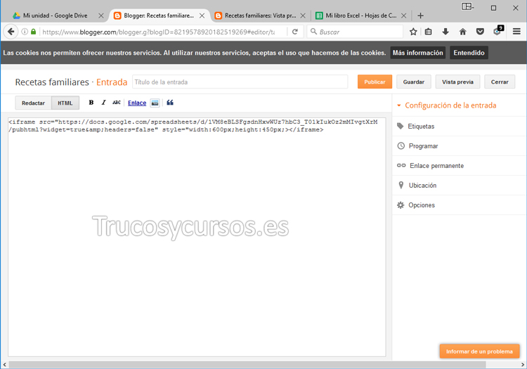Vista entrada en Blogger con código del iframe