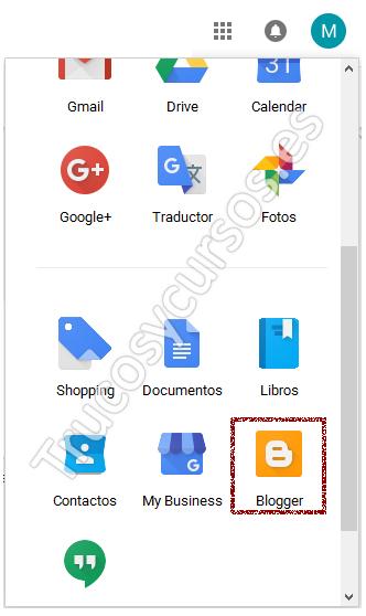 Botón aplicacione Google, Blogger