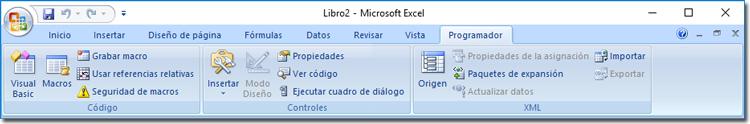 Cinta de opciones Excel con pestaña programador