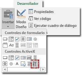 Pestaña desarrollador, mostrando los controles ActiveX