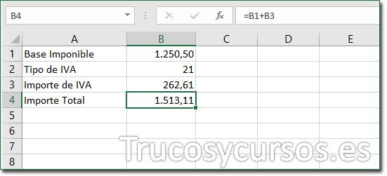 Hoja Excel con celda B4 mostrando 1513,11 como el importe total