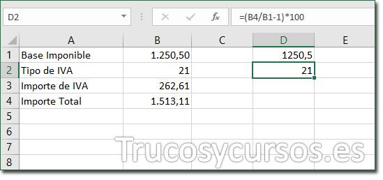 Hoja Excel con celda D2 mostrando 21 como el Tipo de IVA