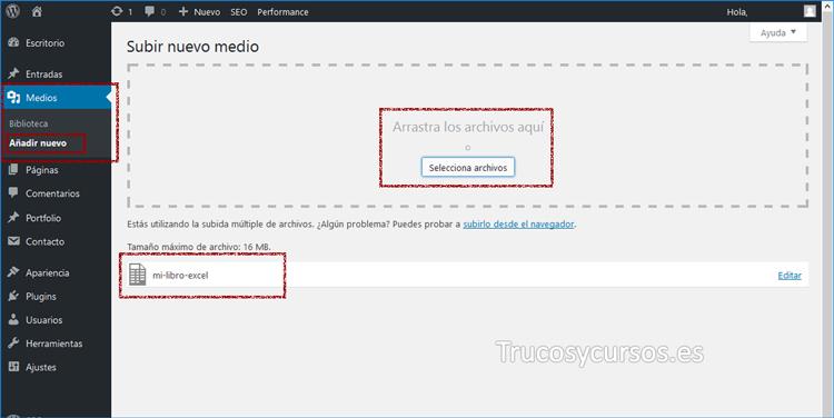 Wordpress Vista de medios / añadir nuevo libro Excel